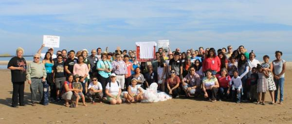 Beach sweep during Hands Across the Sand.