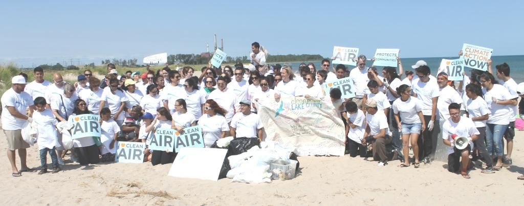 Volunteers pick up trash on Waukegan's beach.
