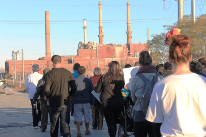 Marchers near NRG coal plant in Waukegan