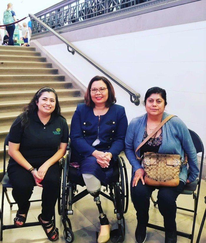 Senator Tammy Duckworth with Celeste and Yolanda Flores of Waukegan.